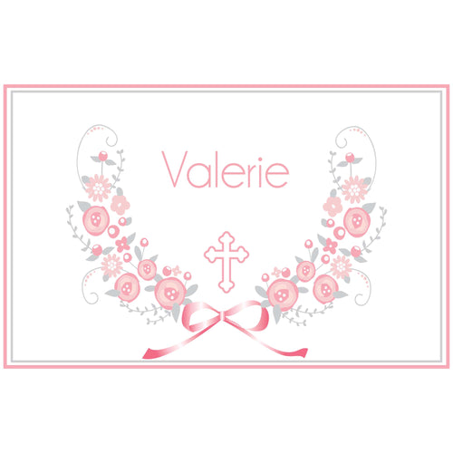 Personalized Placemat with Holy Cross Pink Gray Floral Garland design