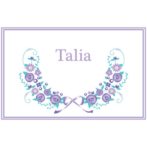 Personalized Placemat with Lavender Floral Garland design