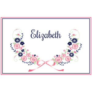 Personalized Placemat with Navy Pink Floral Garland design