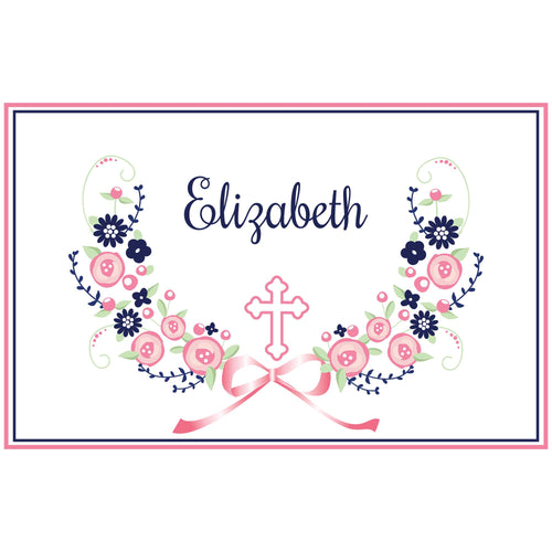 Personalized Placemat with Holy Cross Navy Pink Floral Garland design