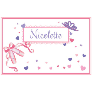 Personalized Placemat with Ballet Princess design
