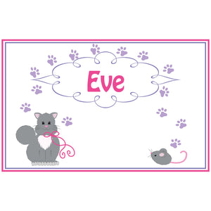 Personalized Placemat with Kitty Cat design