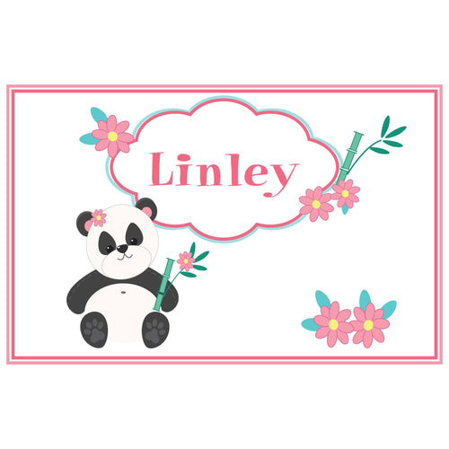 Personalized Placemat with Panda Bear design