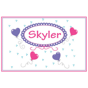 Personalized Placemat with Heart Balloons design