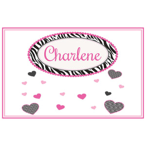 Personalized Placemat with Groovy Zebra design