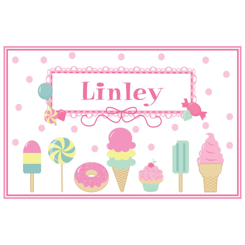 Personalized Placemat with Sweet Treats design