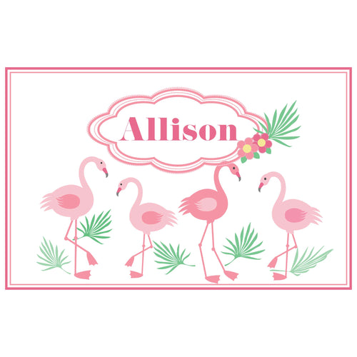Personalized Placemat with Palm Flamingo design