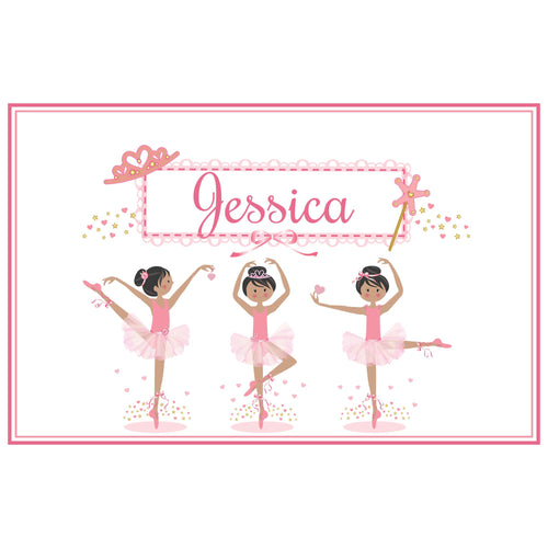 Personalized Placemat with Ballerina Black Hair design