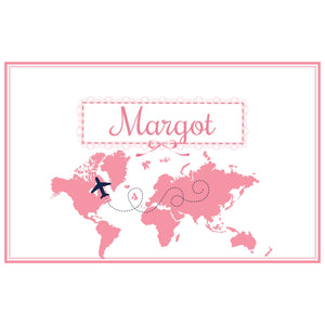 Personalized Placemat with World Map Pink design