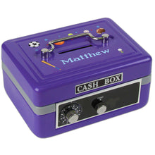Personalized Sports Childrens Purple Cash Box