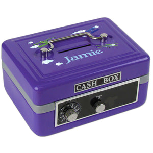 Personalized Airplane Childrens Purple Cash Box