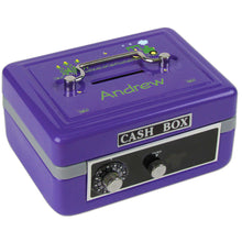 Personalized Green Tractor Childrens Purple Cash Box