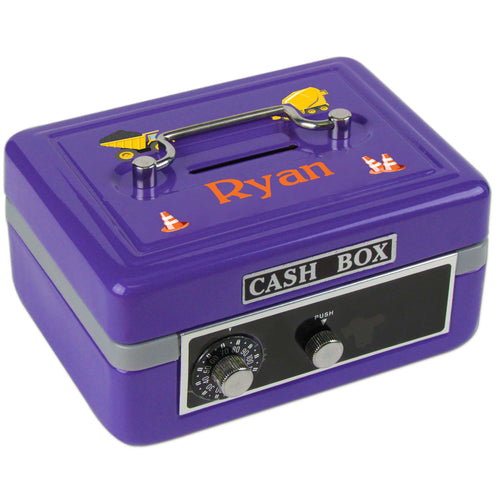 Personalized Construction Childrens Purple Cash Box