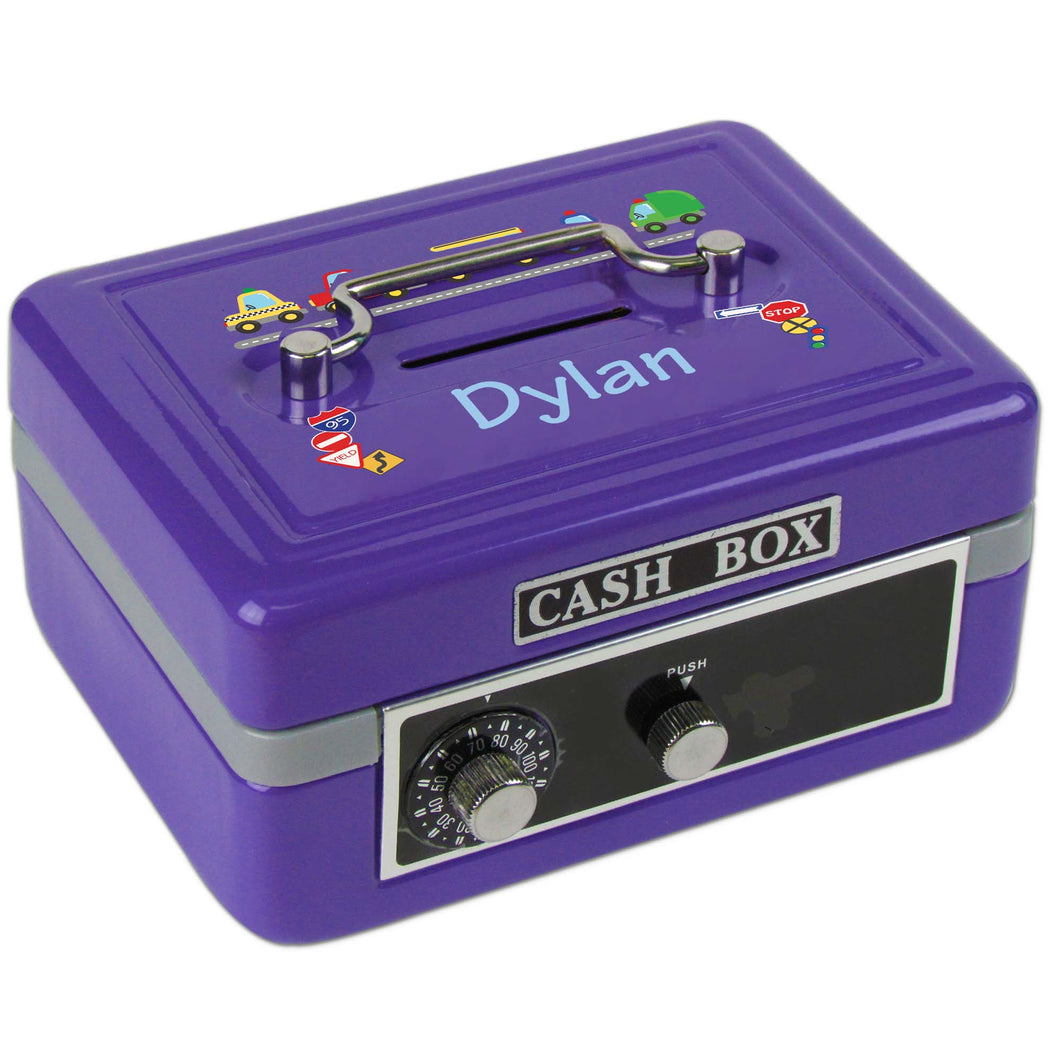 Personalized Cars And Trucks Childrens Purple Cash Box
