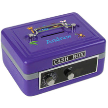 Personalized Jungle Animals Boy Childrens Purple Cash Box