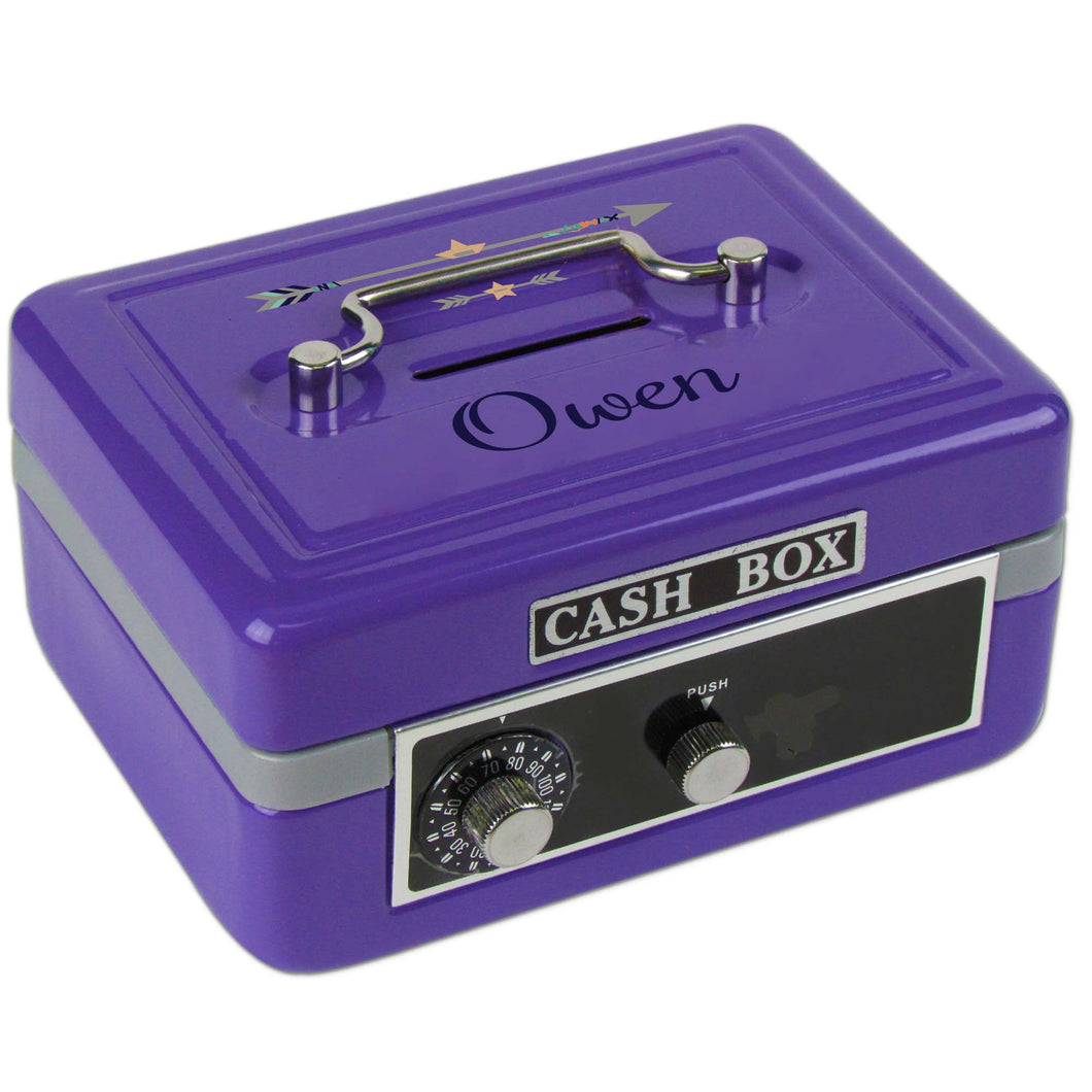 Personalized Tribal Arrows Boy Childrens Purple Cash Box