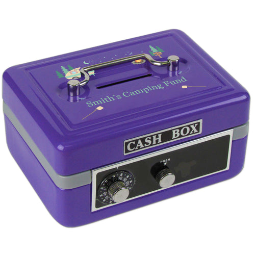 Personalized Camp Smores Childrens Purple Cash Box