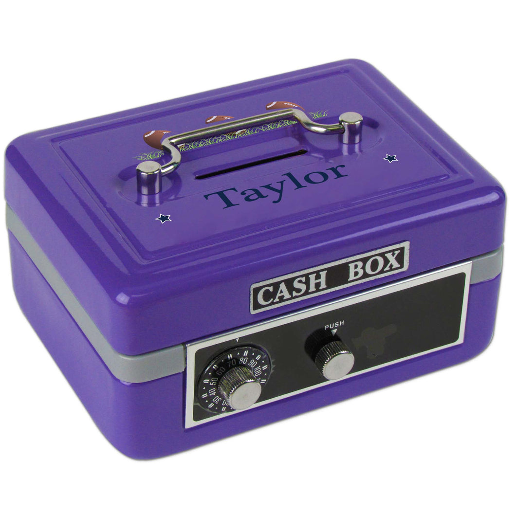 Personalized Footballs Childrens Purple Cash Box