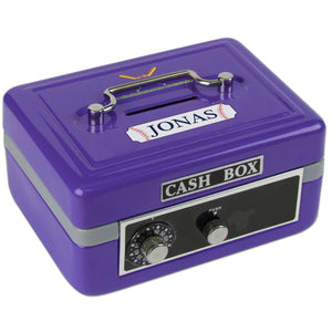 Personalized Baseball Childrens Purple Cash Box