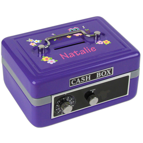Personalized Pink Owl Childrens Purple Cash Box