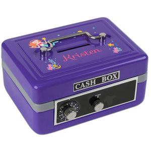Personalized Mermaid Princess Childrens Purple Cash Box