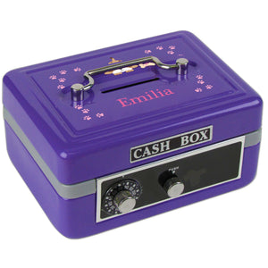 Personalized Pink Puppy Childrens Purple Cash Box