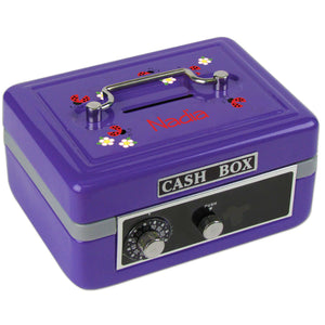 Personalized Red Ladybugs Childrens Purple Cash Box
