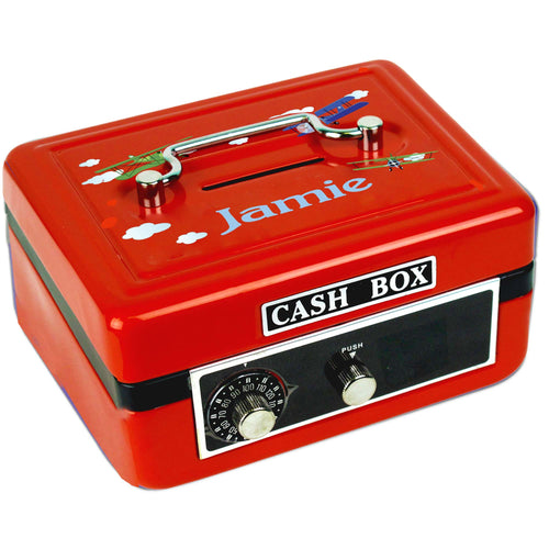 Personalized Airplane Childrens Red Cash Box