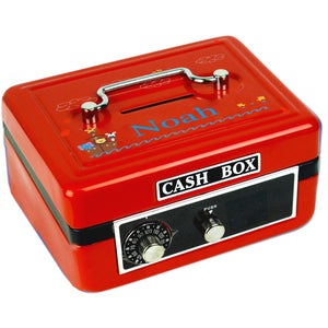 Personalized Noahs Ark Childrens Red Cash Box