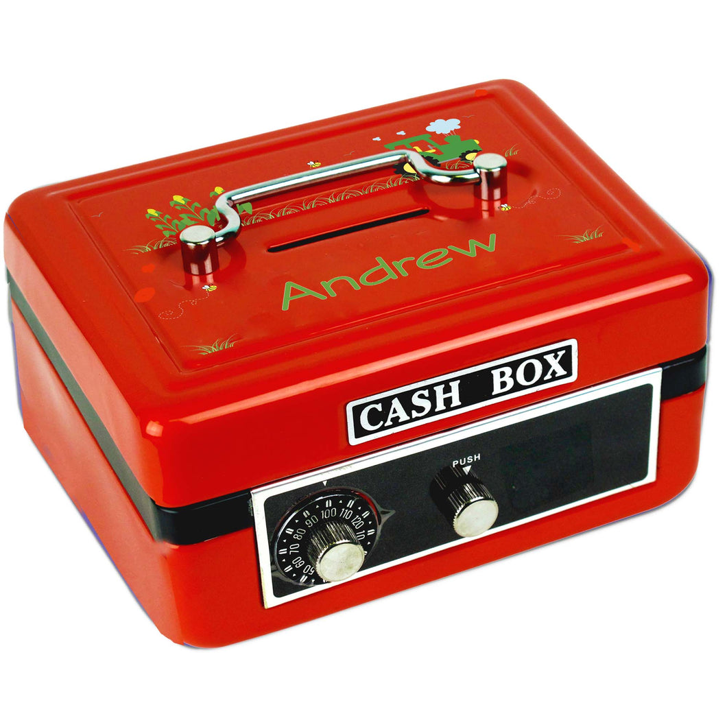Personalized Green Tractor Childrens Red Cash Box