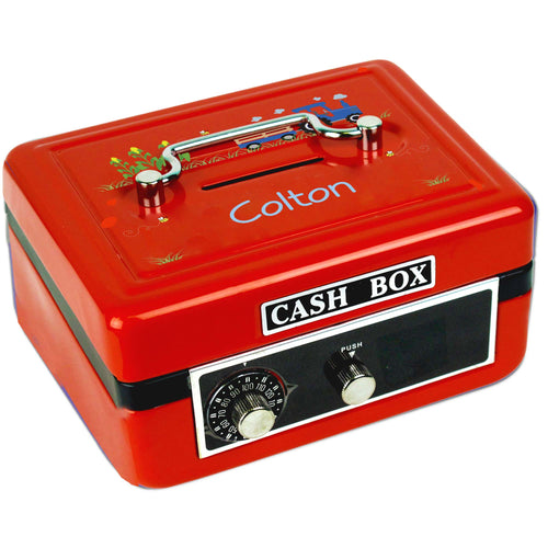 Personalized Blue Tractor Childrens Red Cash Box