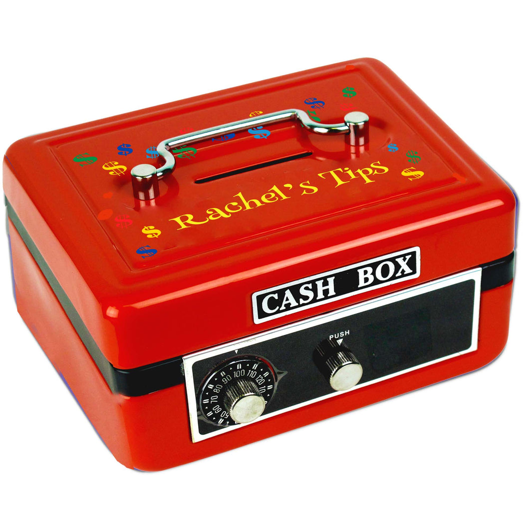 Personalized Red Cash Box with Dollar Signs Primary design