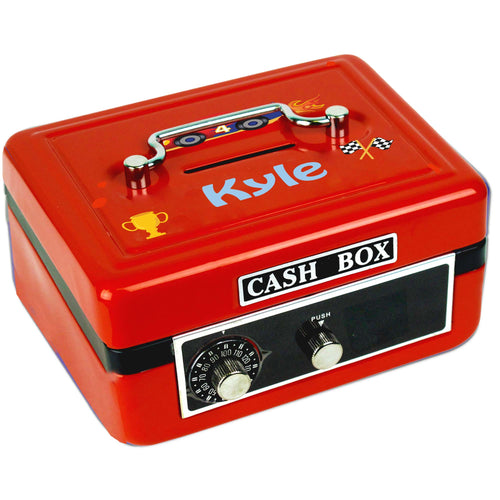 Personalized Race Cars Childrens Red Cash Box