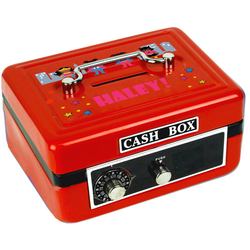 Personalized Super Girls African American Childrens Red Cash Box
