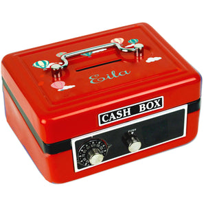 Personalized Hot Air Balloon Childrens Red Cash Box
