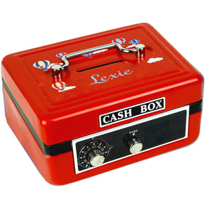 Personalized Hot Air Balloon Primary Childrens Red Cash Box