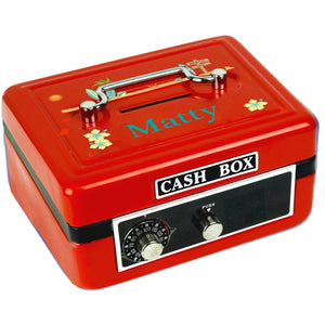 Personalized Surf's Up Childrens Red Cash Box