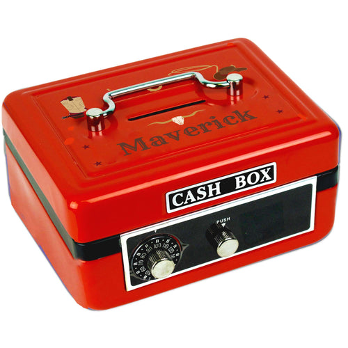 Personalized Wild West Childrens Red Cash Box