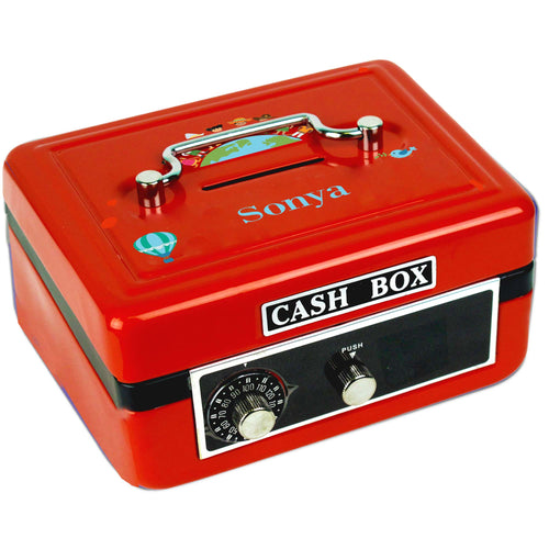 Personalized Small World Childrens Red Cash Box
