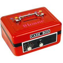Personalized Stemmed Flowers Childrens Red Cash Box