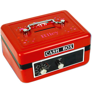 Personalized Unicorn Childrens Red Cash Box