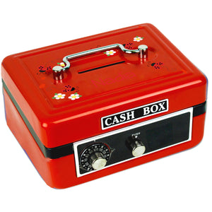 Personalized Red Ladybugs Childrens Red Cash Box