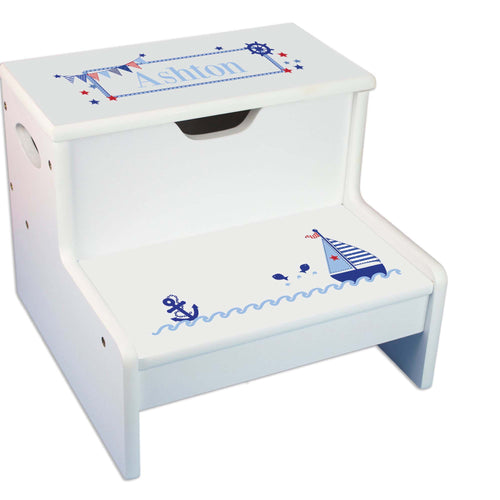 Sailboat Personalized White Storage Step Stool