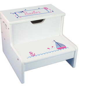 Girl's Sailboat Personalized White Storage Step Stool