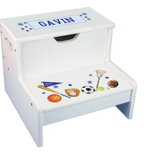 Sports Personalized White Storage Step Stool