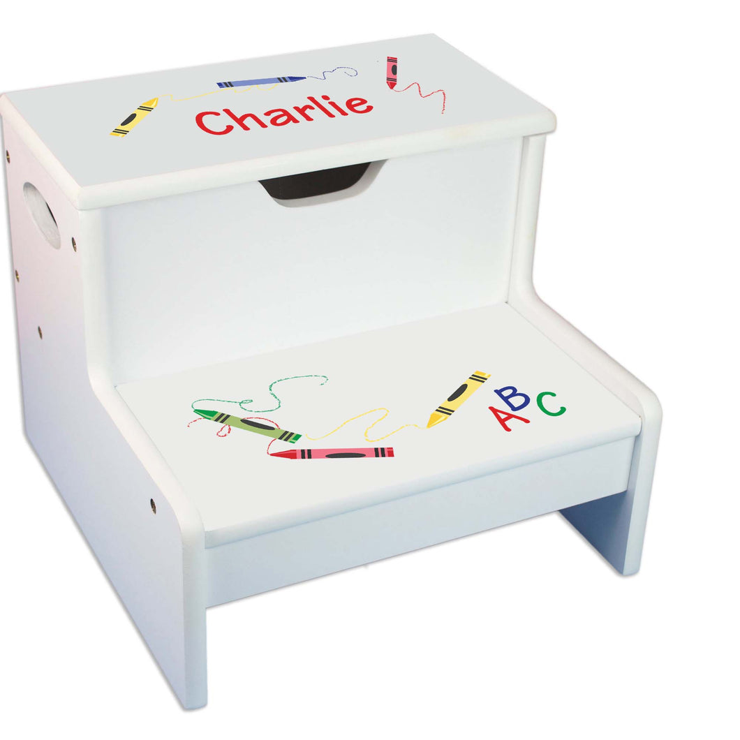 Crayon Personalized White Storage Step Stool