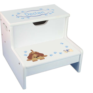 Blue Puppy Personalized White Storage Step Stool