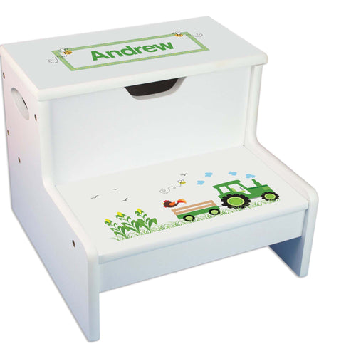Green Tractor Personalized White Storage Step Stool