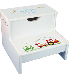 Red Tractor White Storage Step Stool
