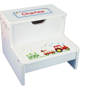 Red Tractor Personalized White Storage Step Stool
